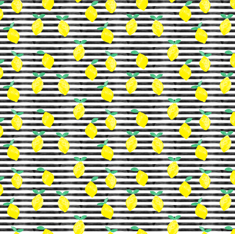 (small scale) so fresh lemons on black watercolor stripes fabric by littlearrowdesign on Spoonflower - custom fabric