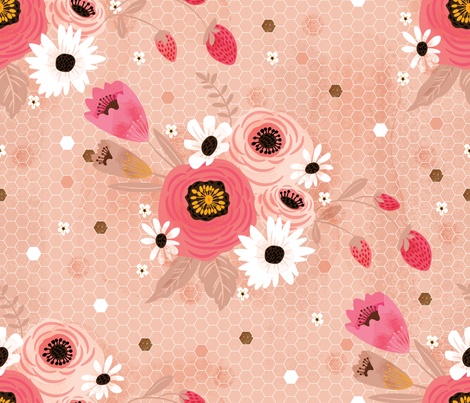 Hexis n' Posies, Rose Gold fabric by cynthiafrenette on Spoonflower - custom fabric