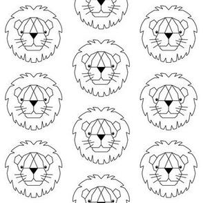 white geometric lions