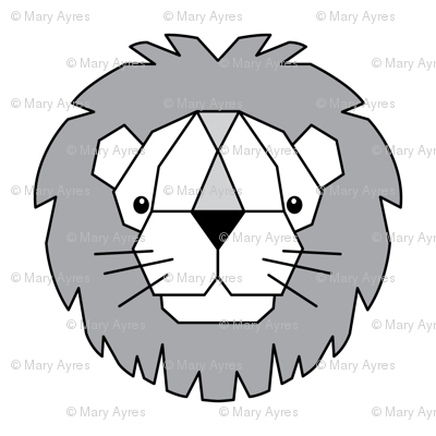 geometric lions - white, grey and black