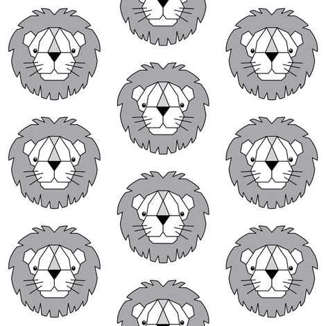 geometric lions - white, grey and black fabric by lilcubby on Spoonflower - custom fabric