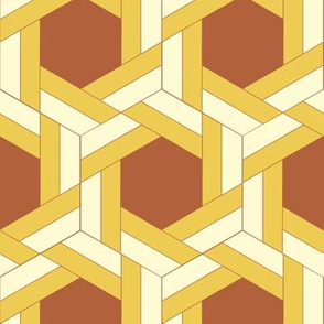 Yellow Bayeux Braided Hexagons