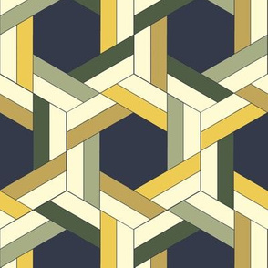 Green and Yellow Interwoven Hexagons