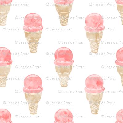 watercolor ice-cream cone - strawberry