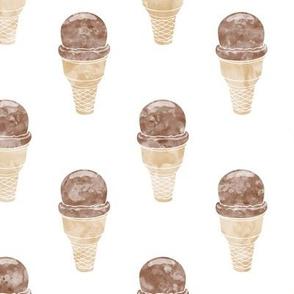 watercolor ice-cream cone - chocolate