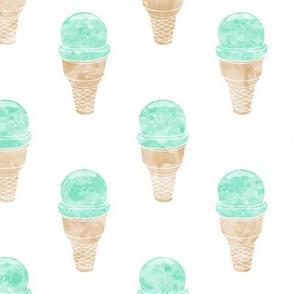 watercolor mint icecream cone