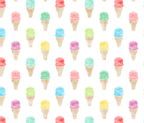 watercolor single scoop icecream -  multi fabric by littlearrowdesign on Spoonflower - custom fabric