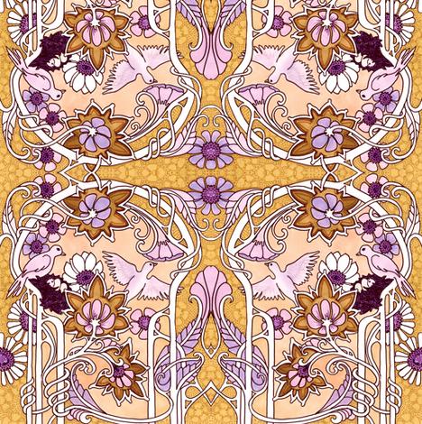 Nouveau Oiseau (orange tones) fabric by edsel2084 on Spoonflower - custom fabric