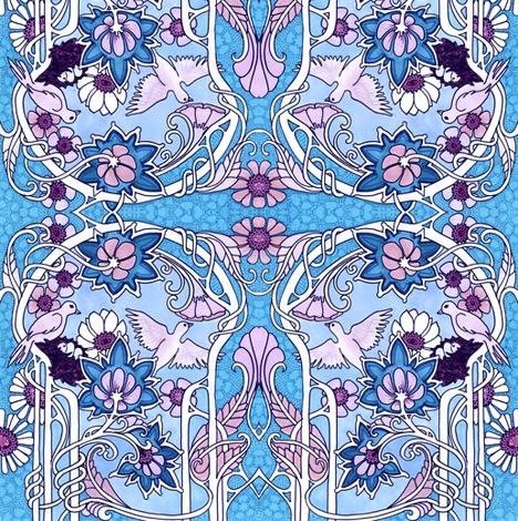 Nouveau Oiseau (blue) fabric by edsel2084 on Spoonflower - custom fabric