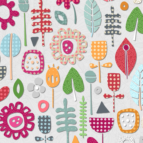 paper cut flowers silver small fabric by scrummy on Spoonflower - custom fabric