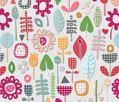 paper cut flowers silver fabric by scrummy on Spoonflower - custom fabric