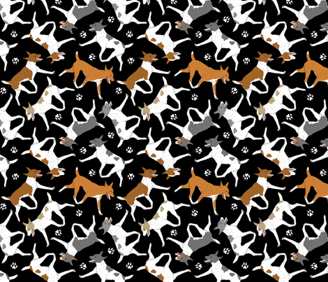 Trotting Rat terriers and paw prints - black fabric by rusticcorgi on Spoonflower - custom fabric