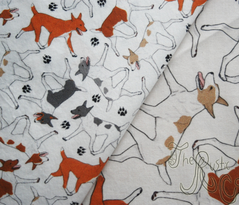 Trotting Rat terriers and paw prints - tiny white