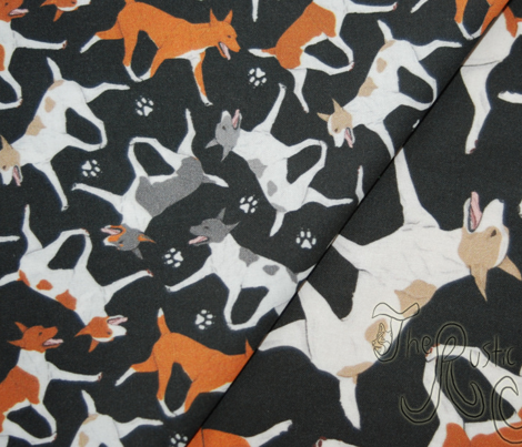 Trotting Rat terriers and paw prints - tiny black