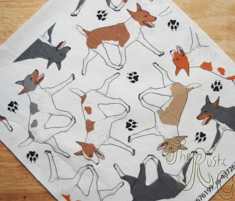 Trotting Rat terriers and paw prints B - white