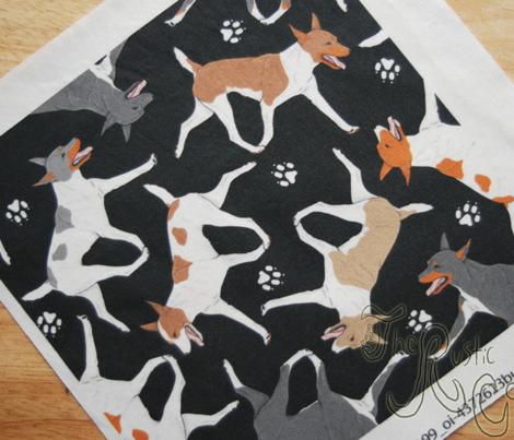 Trotting Rat terriers and paw prints B - black