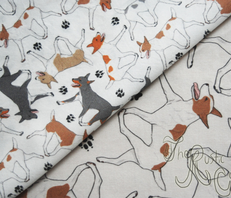 Trotting Rat terriers and paw prints B - tiny white