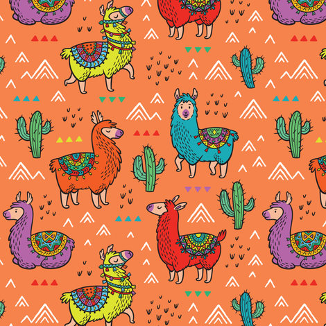 Happy Llamas fabric by penguinhouse on Spoonflower - custom fabric