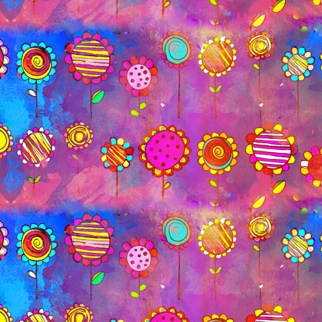 ARTSY MIXED MEDIA BLOOMING CRAZYNESS fabric by paysmage on Spoonflower - custom fabric