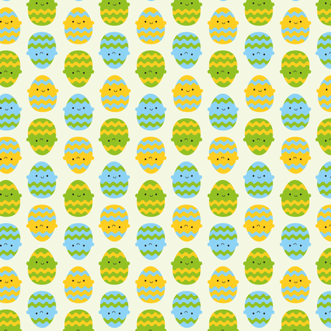Kawaii Easter Eggs fabric by marcelinesmith on Spoonflower - custom fabric