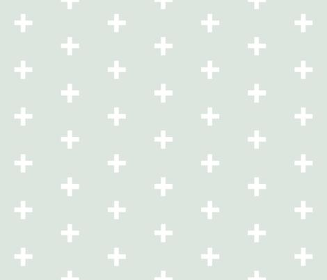 Swiss Cross - White on Sage plus fabric by sugarpinedesign on Spoonflower - custom fabric