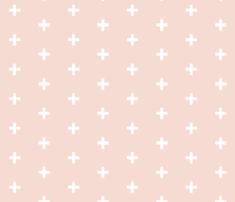 Swiss Cross - White on blush plus fabric by sugarpinedesign on Spoonflower - custom fabric