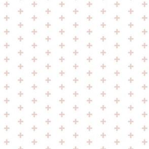 """Tiny Crosses - Blush - 1/3"""" plus on whit"""