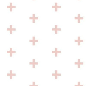 Swiss Cross - dusty pink  on white