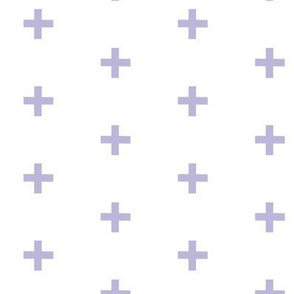 Swiss Cross - lavender on white