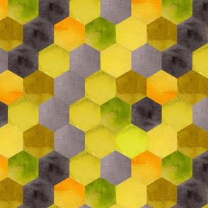 Hexagons watercolor