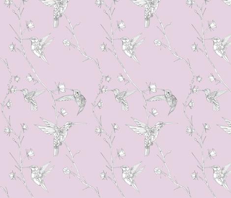 Robot Hummingbirds Pink fabric by wren_2_0 on Spoonflower - custom fabric