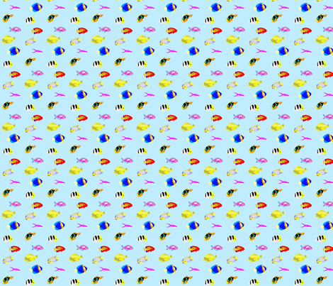 Tropical Fish Frenzy in Blue fabric by wren_2_0 on Spoonflower - custom fabric