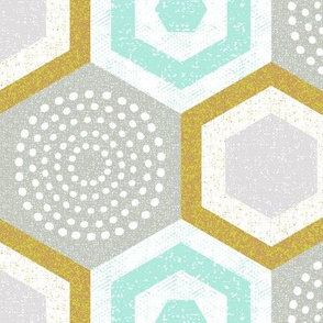 hexagons-mustard and mint