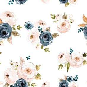Blush Pink and Blue Floral