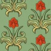 Cut Paper Art Nouveau Amaryllis