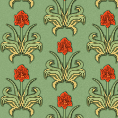 Cut Paper Art Nouveau Amaryllis Red fabric by eclectic_house on Spoonflower - custom fabric
