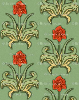 Cut Paper Art Nouveau Amaryllis Red
