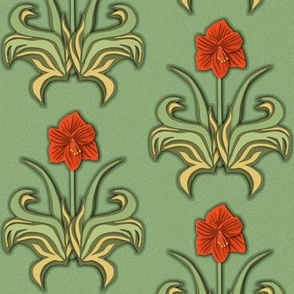 Cut Paper Art Nouveau Amaryllis Red