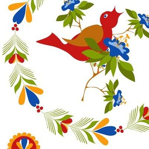 Folk Art Bird in Wreath