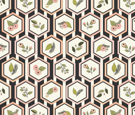 Hexagon Stripe Ivory fabric by fernlesliestudio on Spoonflower - custom fabric