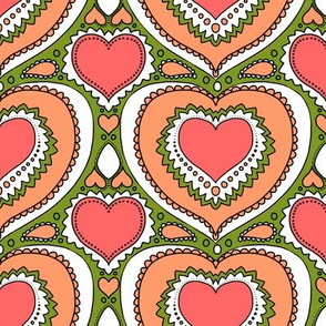 Retro hearts in coral and olive