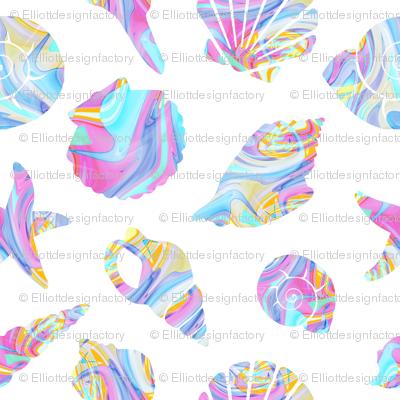 Pastel Rainbow Mermaid Seashells