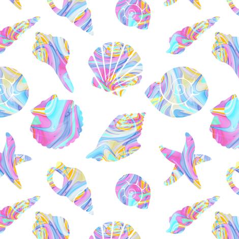 Pastel Rainbow Mermaid Seashells fabric by elliottdesignfactory on Spoonflower - custom fabric