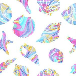 Pastel Rainbow Mermaid Seashells
