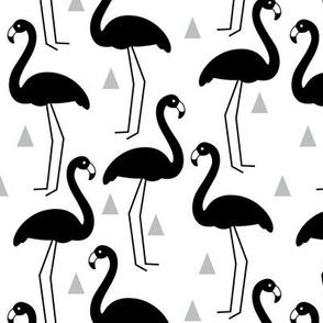 black flamingos on white