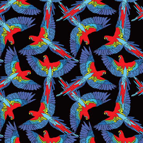 Rainforest Parrot Flock Toss fabric by elliottdesignfactory on Spoonflower - custom fabric