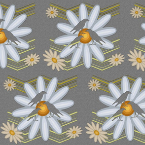 Cut out Daisies and Birds over Paper