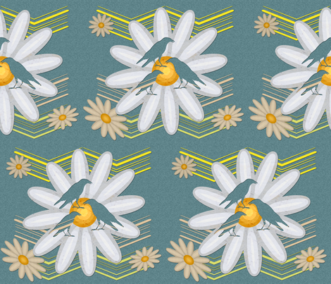 Cut out Daisies and Birds over blue paper fabric by isabella_asratyan on Spoonflower - custom fabric