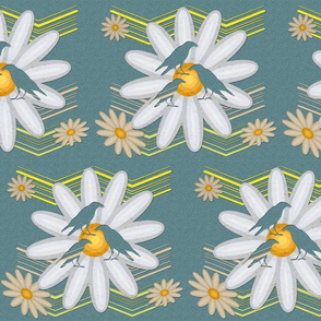 Cut out Daisies and Birds over blue paper