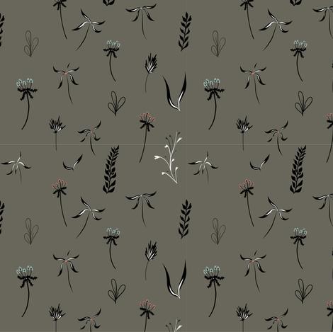 flowers grey fabric by meissa on Spoonflower - custom fabric